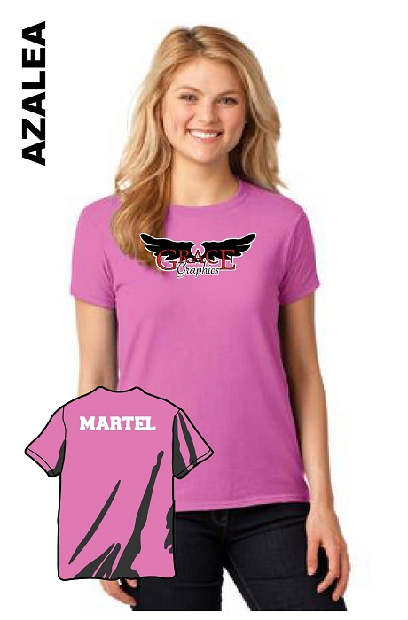 Gildan 5000L Womens Tee Front Logo and Vinyl Personalized Name