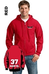 Gildan 18600 Adult Zip-Hoodie Pocket Logo and Personalize Name & Number (Tax Included)